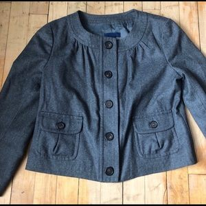 JCrew wool cropped buttoned jacket blazer
